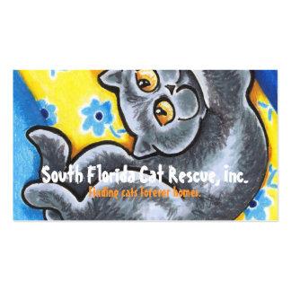 Cat Rescue Grey Kitten Flowers Happy Business Card