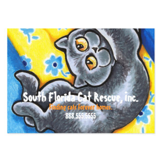 Cat Rescue Grey Kitten Flowers Happy Large Business Card