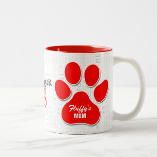 Cat Rescue | Moms are Heroes | Red Paw Print Two-Tone Coffee Mug