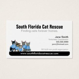 Cat Rescue Non Profit Black Tagline Business Card