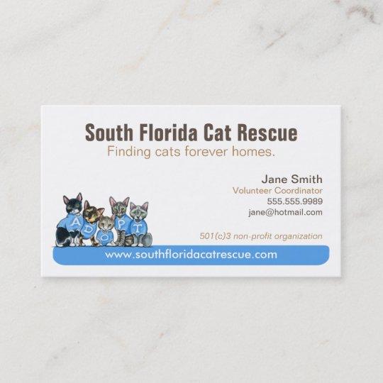cat rescue non profit blue tagline business card - Non Profit Business Cards