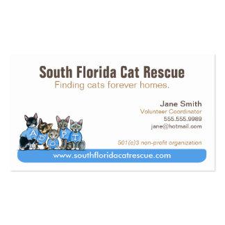 Cat Rescue Non Profit Blue Tagline Business Card