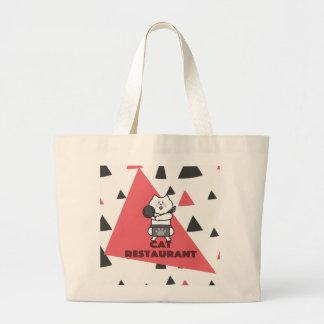 Cat Restaurant Large Tote Bag