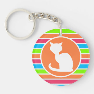 Cat; Retro Neon Rainbow Key Chains
