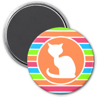 Cat; Retro Neon Rainbow Refrigerator Magnet