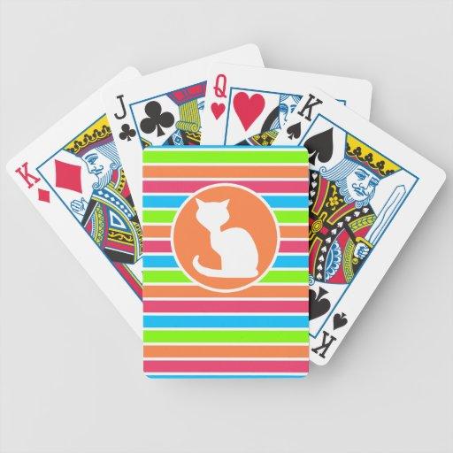 Cat; Retro Neon Rainbow Poker Cards