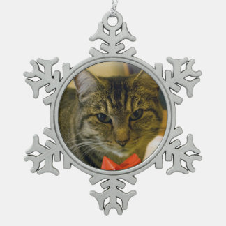 Cat & Ribbon Pewter Ornament