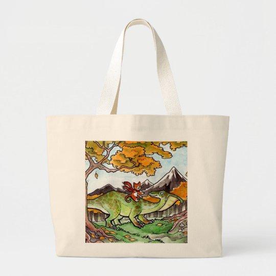 Cat Rides a Dinosaur Large Tote Bag