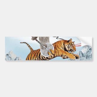 Cat Riding A Tiger Bumper Sticker