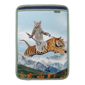 Cat Riding A Tiger MacBook Sleeves