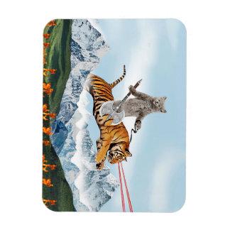 Cat Riding A Tiger Magnet