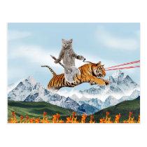 Cat Riding A Tiger Postcard