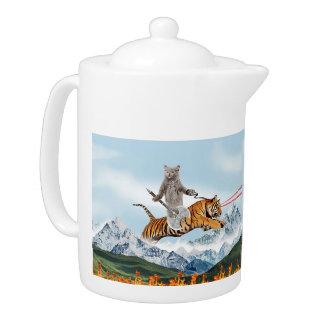 Cat Riding A Tiger Teapot