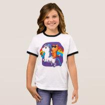 Cat Riding a Unicorn - funny cat Ringer T-Shirt