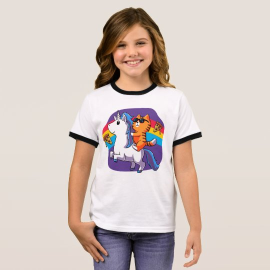 751f5c91a Cat Riding a Unicorn - funny cat Ringer T-Shirt | Zazzle.com