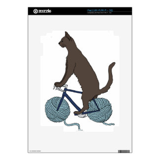 Cat Riding Bike With Yarn Ball Wheels Decals For The iPad 2