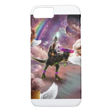 Cat Riding Dinosaur With Flying Space Ice Cream iPhone 8/7 Case