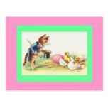 Cat Ringmaster & Easter Chicks Postcard