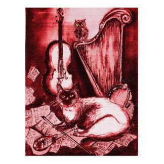 CAT, rojo y blanco MUSICALES Tarjetas Postales