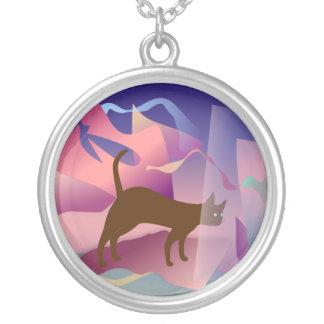 Cat Round Pendant Necklace