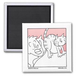 Cat Rude Awakening 2 Inch Square Magnet