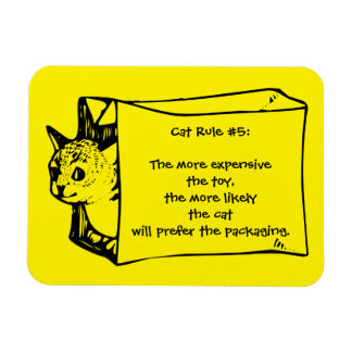 Cat Rules for Toys Cat in a Bag Sticker Magnet