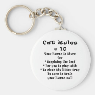 Cat Rules Number 10 Basic Round Button Keychain