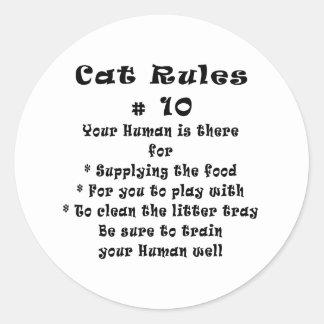 Cat Rules Number 10 Classic Round Sticker