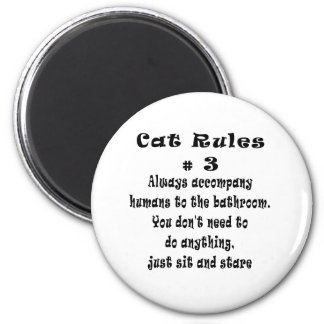 Cat Rules number 3 2 Inch Round Magnet