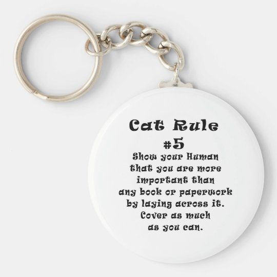 Cat Rules Number 5 Keychain