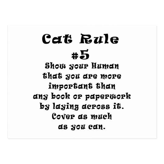Cat Rules Number 5 Postcard