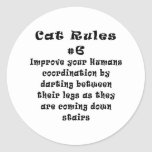 Cat Rules Number 6 Round Stickers