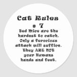 Cat Rules Number 7 Classic Round Sticker