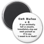 Cat Rules Number 8 2 Inch Round Magnet