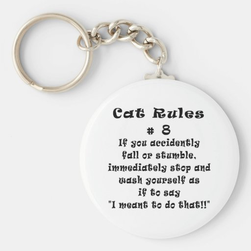 Cat Rules Number 8 Basic Round Button Keychain