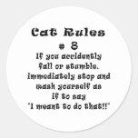 Cat Rules Number 8 Classic Round Sticker