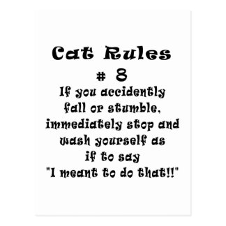 Cat Rules Number 8 Post Cards