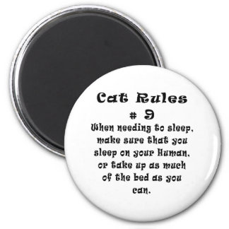 Cat Rules Number 9 2 Inch Round Magnet