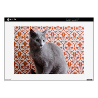Cat (Russian blue) and wallpaper background Laptop Skin