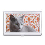 Cat (Russian blue) and wallpaper background Business Card Holders