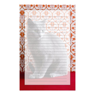 Cat (Russian blue) and wallpaper background Stationery