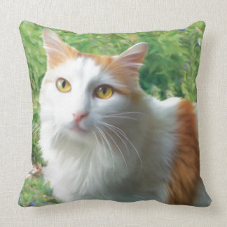 Cat - Samson the Long Haired White and Tan cat Pillows