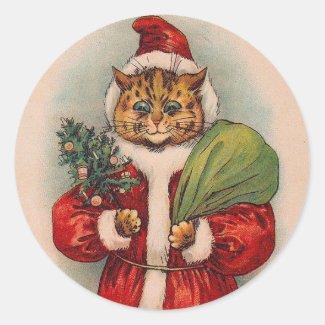 Cat Santa by Louis Wain Round Sticker