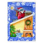 Cat Santa Christmas or Holiday card