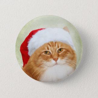 Cat Santa Claus Button