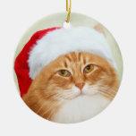 Cat Santa Claus Ceramic Ornament