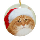 Cat Santa Claus Double-Sided Ceramic Round Christmas Ornament