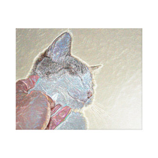 cat scratch under neck sparkle animal feline pet gallery wrapped canvas