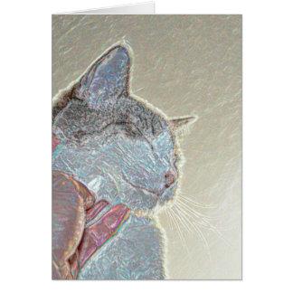 cat scratch under neck sparkle animal feline pet card