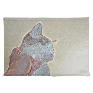cat scratch under neck sparkle animal feline pet cloth placemat